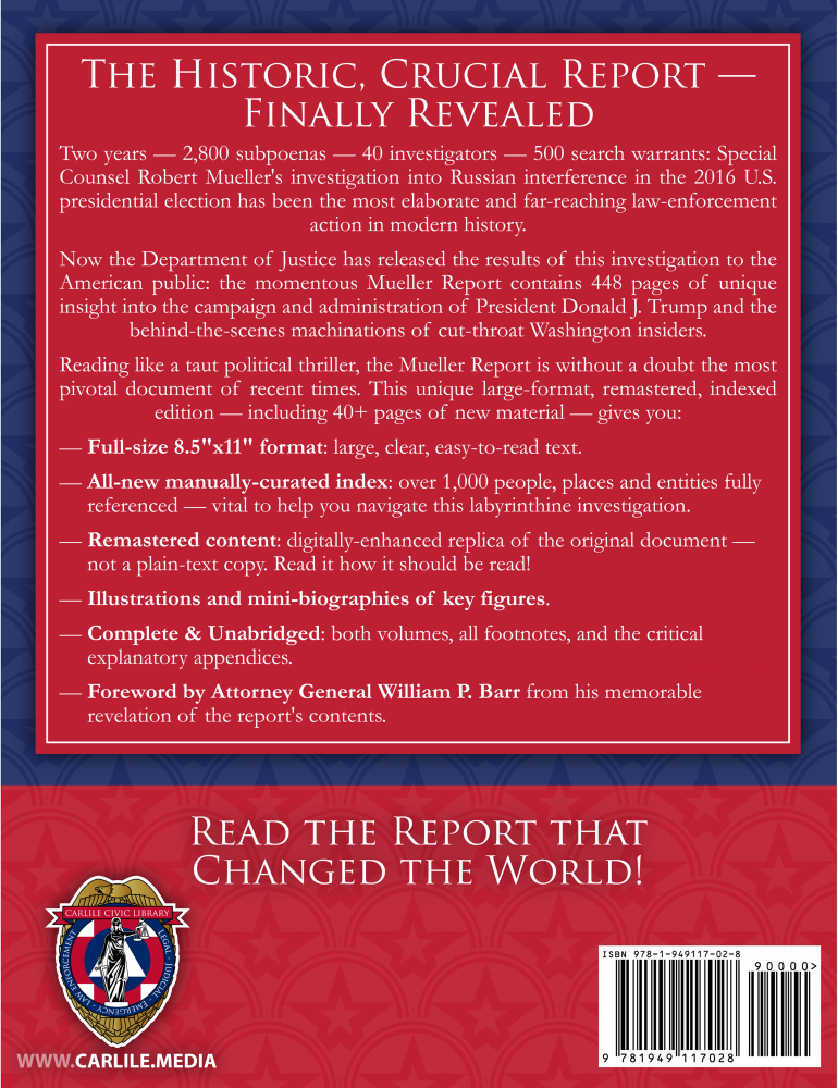 Mueller Report Full Size Back Cover