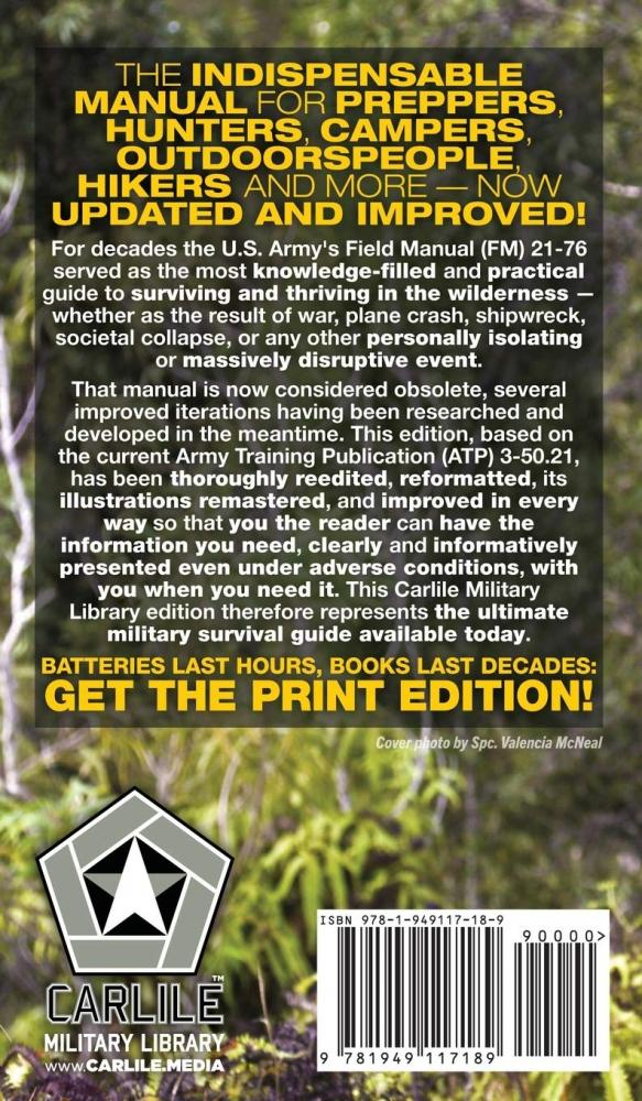 The US Army Survival Guide Manual Carlile Media Carlile Military Library Hardcover