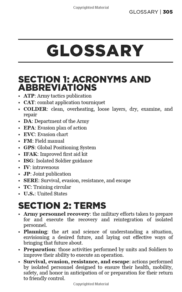 Survival Glossary of Terms